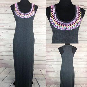 HIVE & HONEY Jewel Embellished Neck Maxi Dress